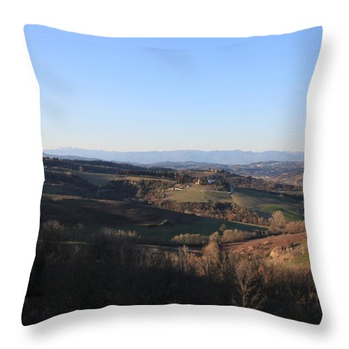Montespertoli Throw Pillow featuring the photograph Tuscany Valleys At Sunset by Francesco Scali