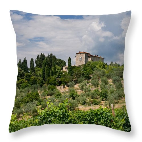 Agriculture Throw Pillow featuring the photograph Tuscany Villa In Tuscany Italy by U Schade