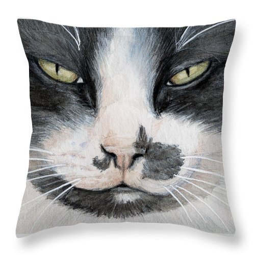 Cat Throw Pillow featuring the painting Tuxedo Cat by Svetlana Ledneva-Schukina