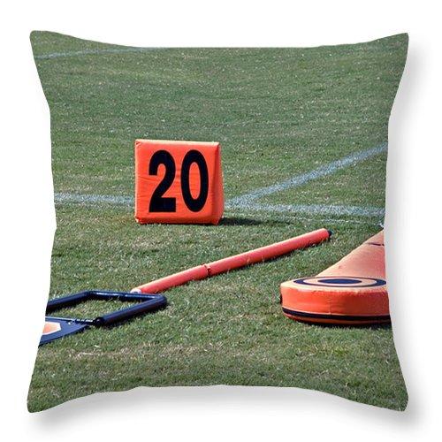 Football Throw Pillow featuring the photograph Twenty Yard Line by Susan Leggett