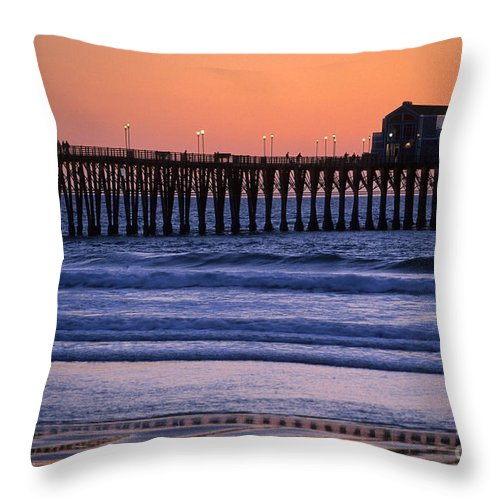 Bronstein Throw Pillow featuring the photograph Twilight At Imperial Pier by Sandra Bronstein