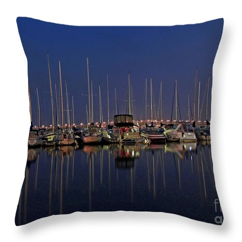 Twilight At The Marina By The Lift Bridge Throw Pillow featuring the photograph Twilight At The Marina By The Lift Bridge by Inspired Nature Photography Fine Art Photography