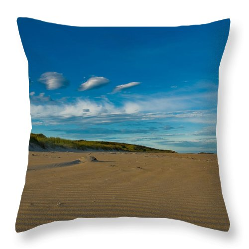 Aqua Throw Pillow featuring the photograph Twilight During A Sunset At A Beach With Beautiful Clouds by U Schade