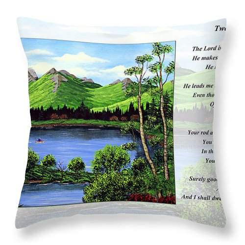 Twenty Third Psalm Throw Pillow featuring the painting Twin Ponds And 23 Psalm On White by Barbara Griffin