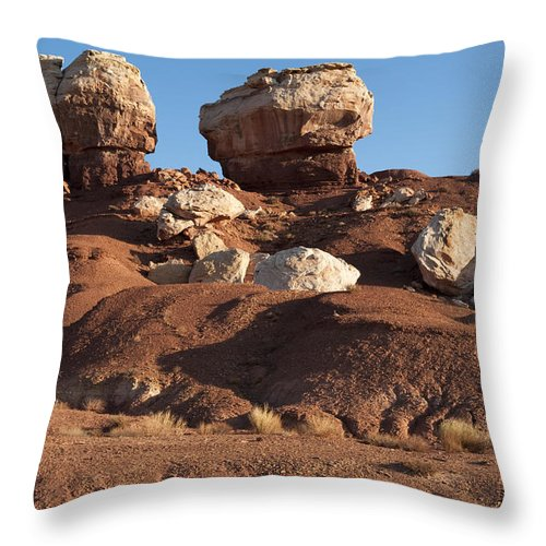Capitol Reef Throw Pillow featuring the photograph Twin Rocks Capitol Reef Np by Sandra Bronstein