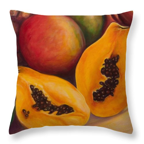 Twins Throw Pillow featuring the painting Twins Crop by Shannon Grissom