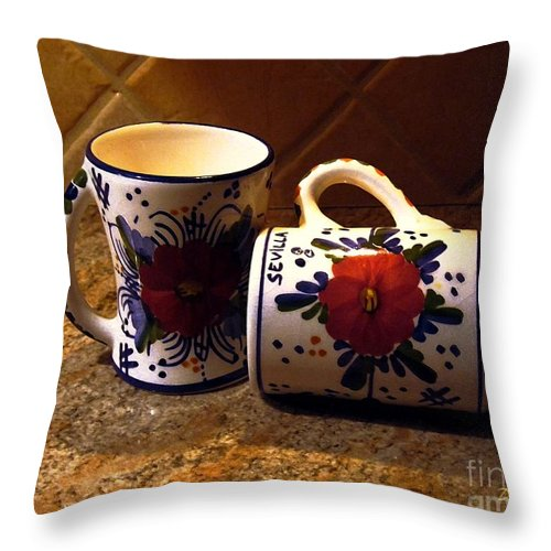 Coffe Cups Throw Pillow featuring the digital art Two Cups by Dale  Ford