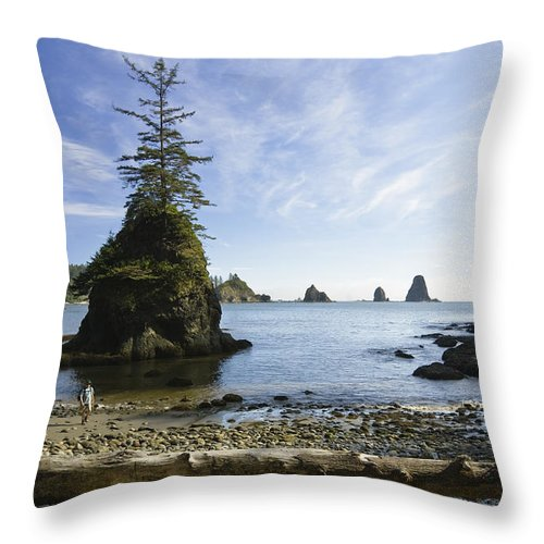 Mp Throw Pillow featuring the photograph Two Hikers Walk On Beach With Sea by Konrad Wothe