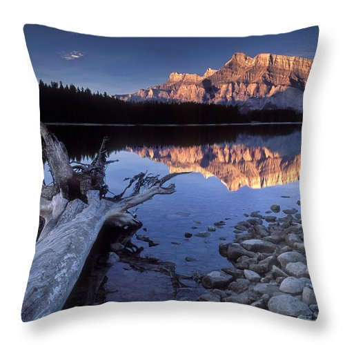 Two Jack Lake Throw Pillow featuring the photograph Two Jack Lake Banff Canada by Dave Mills
