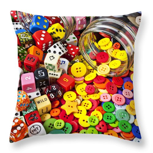 Jar Dice Games Play Numbers Gamble Throw Pillow featuring the photograph Two Jars Dice And Buttons by Garry Gay