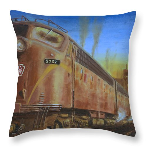 Train Throw Pillow featuring the painting Two Minutes Late by Christopher Jenkins