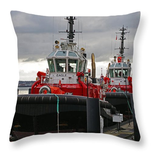 Boats Throw Pillow featuring the photograph Two Red Tugs by Randy Harris