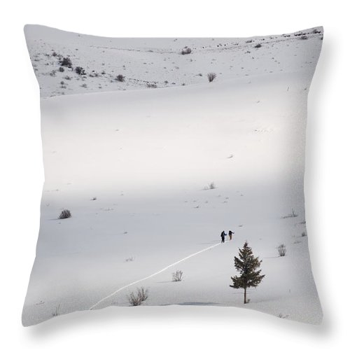 Colorado Throw Pillow featuring the photograph Two Skiers Climb A Hill To Ski Fresh by Michael S. Lewis