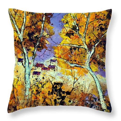 Landscape Throw Pillow featuring the painting Two Trees In Fall by Pol Ledent