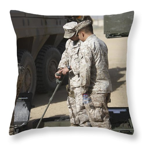 Explosive Ordnance Disposal Throw Pillow featuring the photograph Two U.s. Marines Use A Mine Detector by Terry Moore