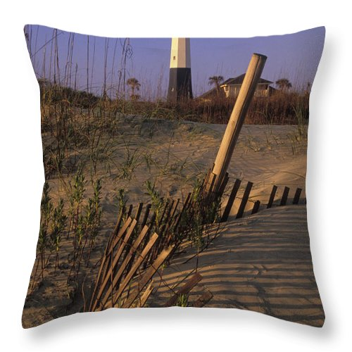 Tybee Throw Pillow featuring the photograph Tybee Island Lighthouse - Fs000812 by Daniel Dempster