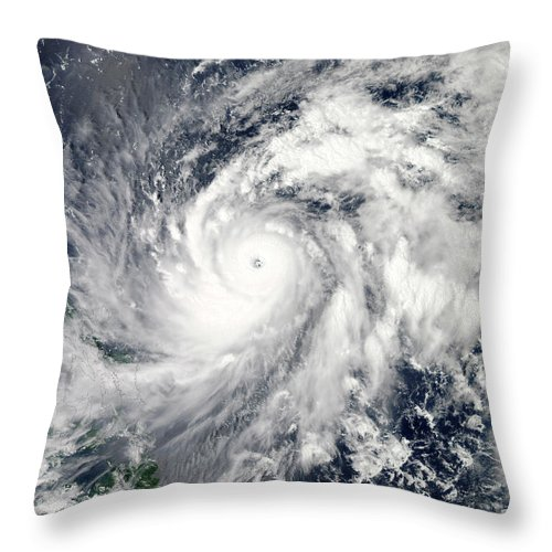 Color Image Throw Pillow featuring the photograph Typhoon Sanba Over The Pacific Ocean by Stocktrek Images
