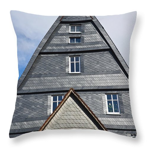 Marburg Throw Pillow featuring the photograph Typical Houses In The Center Of The by Axiom Photographic