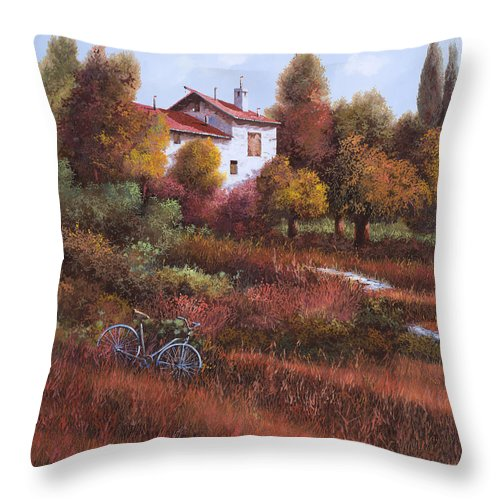 Bike.wood Throw Pillow featuring the painting Una Bicicletta Nel Bosco by Guido Borelli