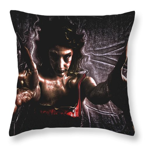 Undead Throw Pillow featuring the digital art Undead by Mimulux patricia No
