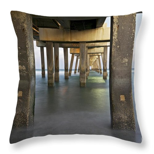 Ocean Throw Pillow featuring the photograph Under Dania Beach Pier by Glennis Siverson