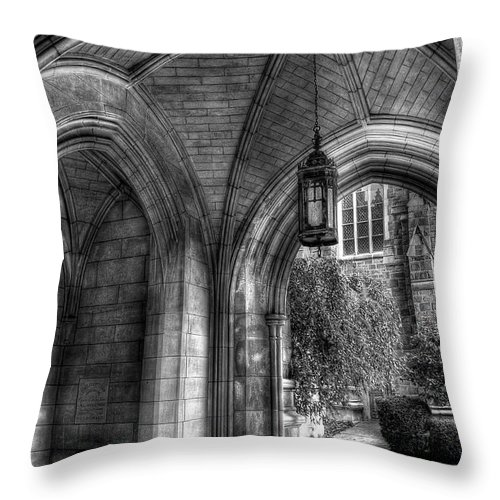 Hdr Throw Pillow featuring the photograph Under The Bell Tower by Brian Fisher