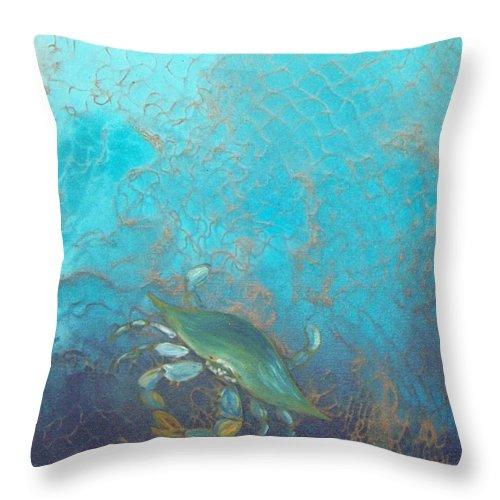 Underwater Blue Crab Netting Fishing Throw Pillow featuring the painting Underwater Blue Crab by Lynda McDonald