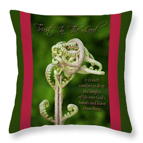 Unfurling Palm Frond Throw Pillow featuring the photograph Unfurling Faith by Carolyn Marshall