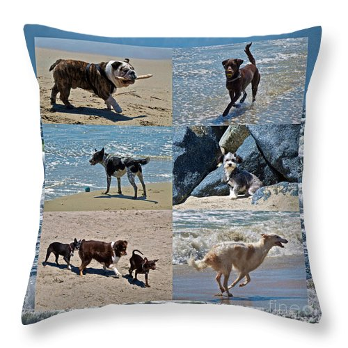 Dog Throw Pillow featuring the photograph Uninhibited Creatures by Gwyn Newcombe