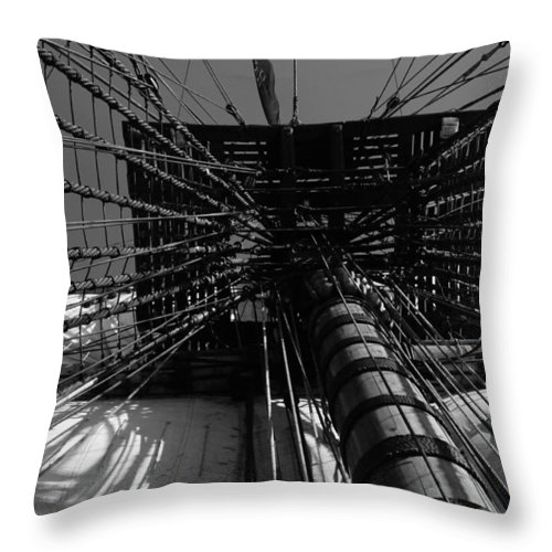 Sailing Throw Pillow featuring the photograph Up To The Crow's Nest - Monochrome by Ulrich Kunst And Bettina Scheidulin