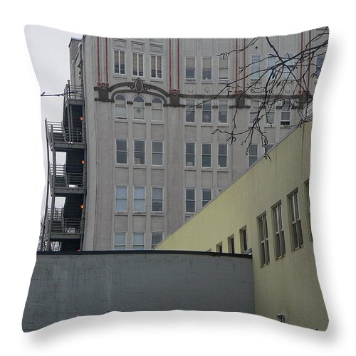 Abstract Throw Pillow featuring the photograph Urban Angles by Pamela Patch