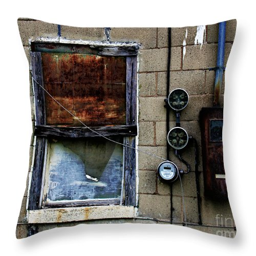 Window Throw Pillow featuring the photograph Urban Gritty by Perry Webster