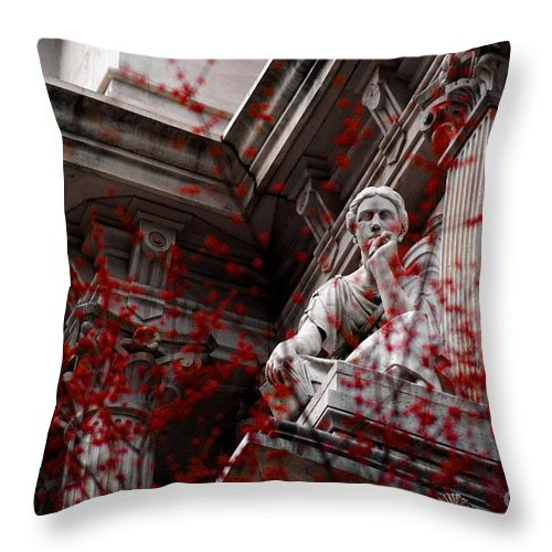 Statue Throw Pillow featuring the photograph Urban Stare by Eric Clever