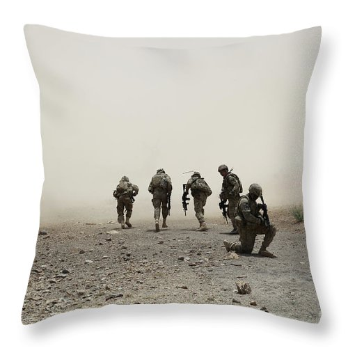 Dust Throw Pillow featuring the photograph U.s. Army Captain Provides Security by Stocktrek Images
