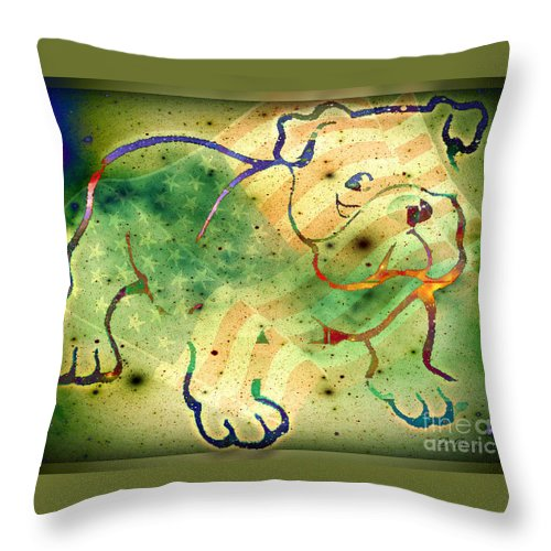 Us Throw Pillow featuring the digital art Us Bull by Donna Bentley