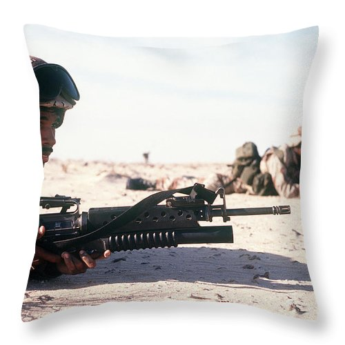Horizontal Throw Pillow featuring the photograph U.s. Marine Guards The Camp Perimeter by Stocktrek Images