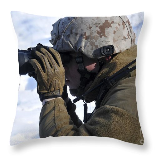 Marine Throw Pillow featuring the photograph U.s. Marine Looks by Stocktrek Images