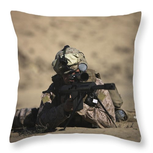 Sniper Throw Pillow featuring the photograph U.s. Marine Sights In A Barrett M82a1 by Terry Moore