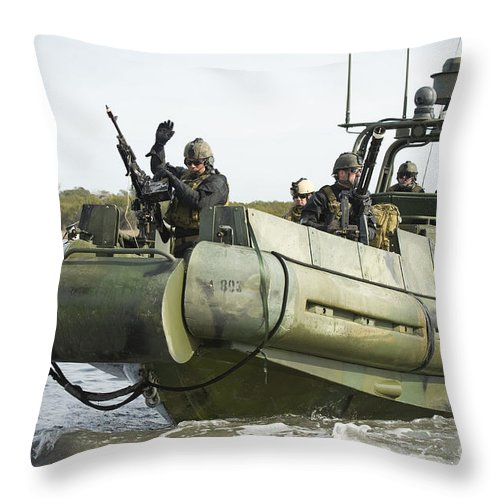 Motioning Throw Pillow featuring the photograph U.s. Navy Sailors Conduct A Hot by Stocktrek Images