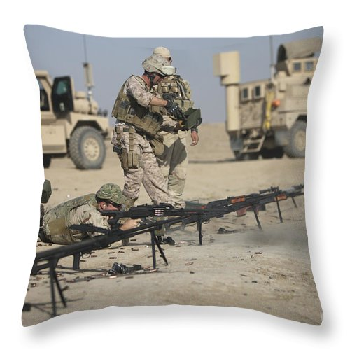 Operation Enduring Freedom Throw Pillow featuring the photograph U.s. Soldiers Prepare To Fire Weapons by Terry Moore