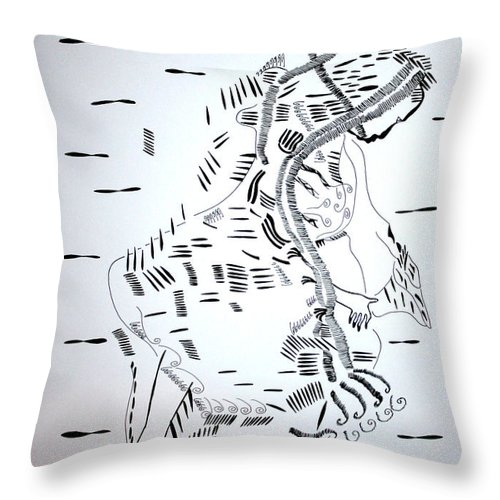 Jesus Throw Pillow featuring the drawing Ussua Dance - Sao Tome And Principe by Gloria Ssali
