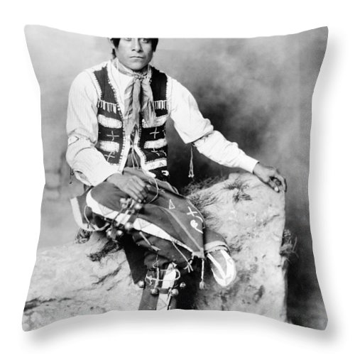 1906 Throw Pillow featuring the photograph Ute Man, C1906 by Granger