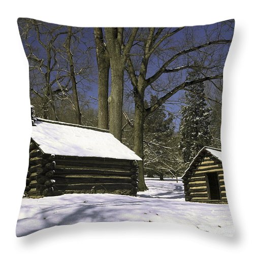 Revolutionary War Soldiers Log Huts Throw Pillow featuring the photograph Valley Forge Winter by Sally Weigand
