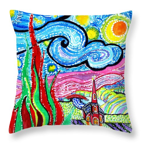 Christmas Abstract Throw Pillow featuring the painting Van Goghs'christmas by Connie Valasco