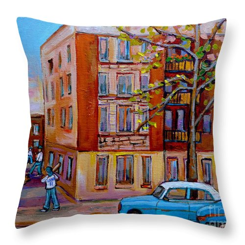 Montreal Throw Pillow featuring the painting Van Horne Boulevard Montreal Street Scene by Carole Spandau