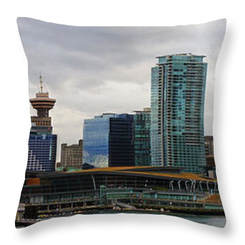 Vancouver Throw Pillow featuring the photograph Vancouver Panorama by Randy Harris