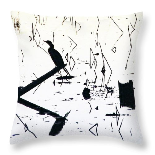 Black And White Image Throw Pillow featuring the digital art Vee by Lizi Beard-Ward