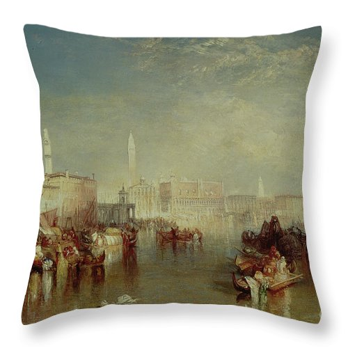 Italy; Salute; San Marco; St Marks; Doges Palace; Veneto; Landscape Throw Pillow featuring the painting Venice by Joseph Mallord William Turner