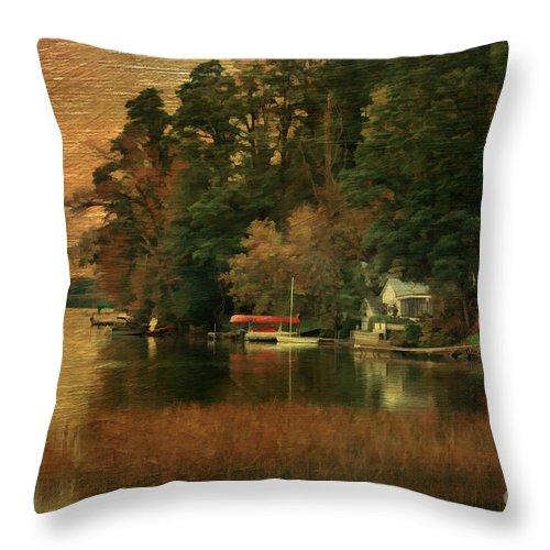 Autumn Throw Pillow featuring the photograph Vermont Autumn Shoreline by Deborah Benoit