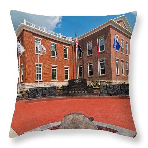 Veterans Memorial Hillsboro Ohio Throw Pillow featuring the photograph Veterans Memorial Hillsboro by Randall Branham